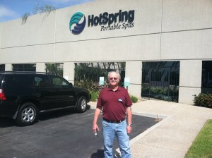 Olympic Hot Tub Head Service Tech Reg Akright at Hot Spring Spas factory April 2013