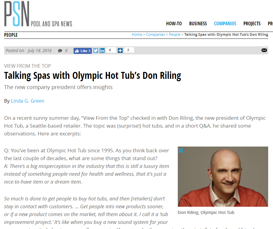 Talking Spas with Olympic Hot Tub's Don Riling