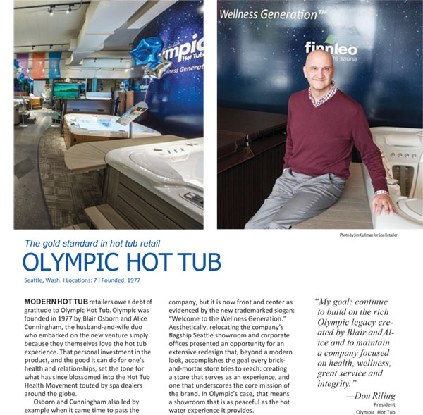 Olympic Hot Tub is proud to announce it has been inducted into the AQUA 100.