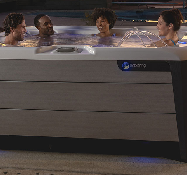 Gather at the table, then gather at the hot tub