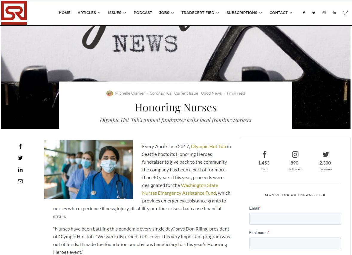 Spa Retailer – Honoring Nurses Olympic Hot Tub's annual fundraiser helps local frontline workers