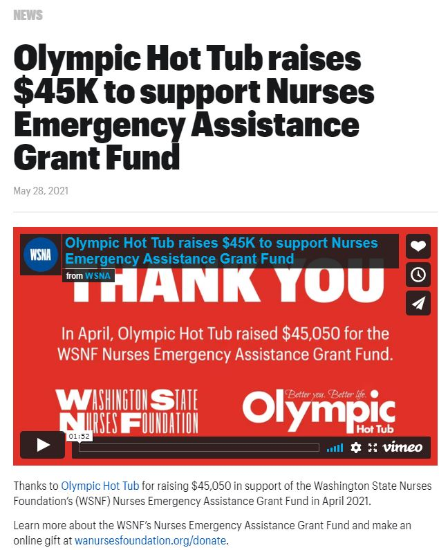 Olympic Hot Tub raises $45K to support Nurses Emergency Assistance Grant Fund